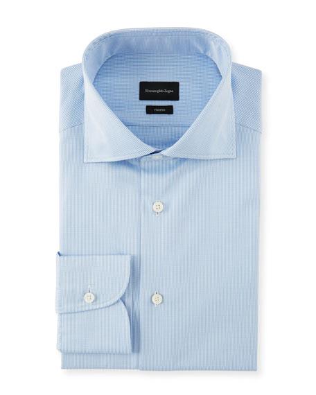 Ermenegildo Zegna Cottons MEN'S COTTON CHECK DRESS SHIRT