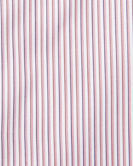 ERMENEGILDO ZEGNA Cottons MEN'S NARROW STRIPE DRESS SHIRT