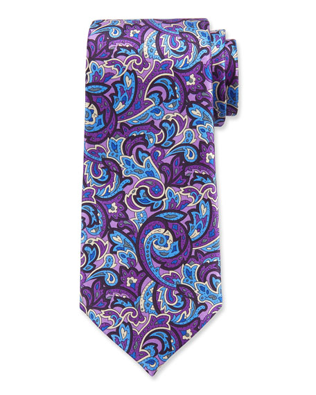 Ermenegildo Zegna Men's Paisley Silk Tie, Purple