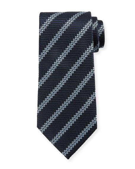 Ermenegildo Zegna Men's Textured Stripes Silk Tie