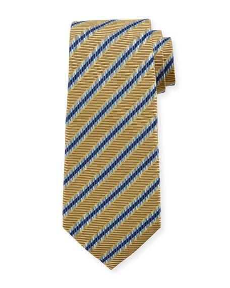 Ermenegildo Zegna Men's Textured Contrast Stripes Silk Tie