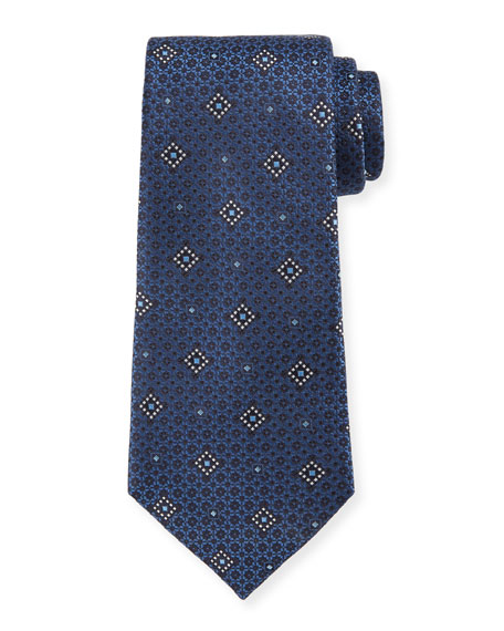 Ermenegildo Zegna Diamond Graphic Silk Tie
