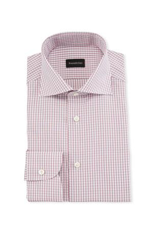 Ermenegildo Zegna Men's Graph Check Dress Shirt