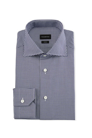Ermenegildo Zegna Men's Trofeo Cotton Gingham Check Dress Shirt