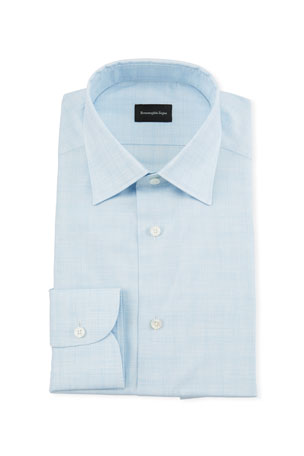 Ermenegildo Zegna Men's Heathered Giza Dress Shirt