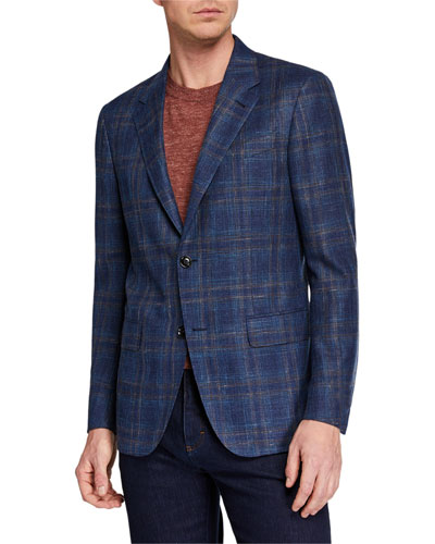 Men's Large-Plaid Wool/Silk/Linen Jacket