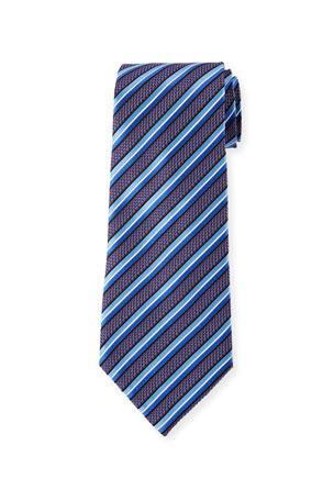 Ermenegildo Zegna Satin-Stripe Jacquard Silk Tie