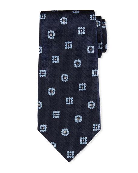 Ermenegildo Zegna Silk Medallion-on-Jacquard Tie, Navy