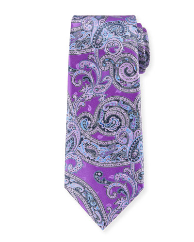 Large-Scale Paisley Tie, Light Blue, Purple