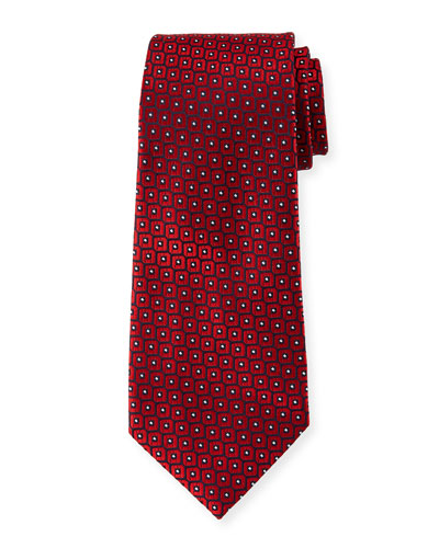 Men's Woven Boxes Silk Tie  Red