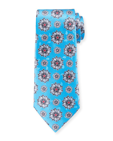 Ermenegildo Zegna Exploded Flowers Silk Tie, Light Blue