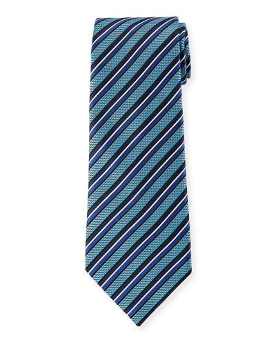 Diagonal Geometric Silk Tie  Blue