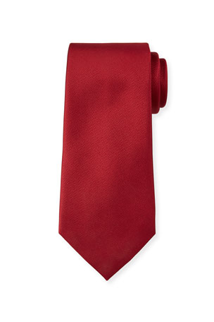 Ermenegildo Zegna Solid Silk Twill Tie, Red