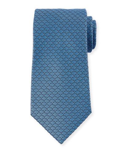 Men's Silk Woven Tiles Tie, Blue