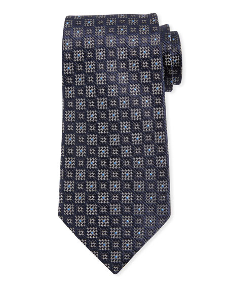 Ermenegildo Zegna Jacquard Boxes Silk Tie, Navy