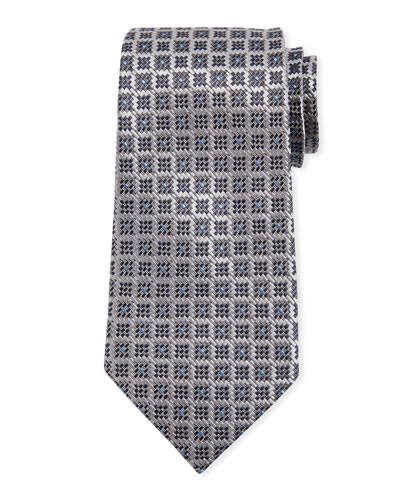 Jacquard Boxes Silk Tie  Gray