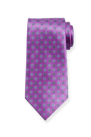 Ermenegildo Zegna Alternating Flowers Silk Tie, Purple