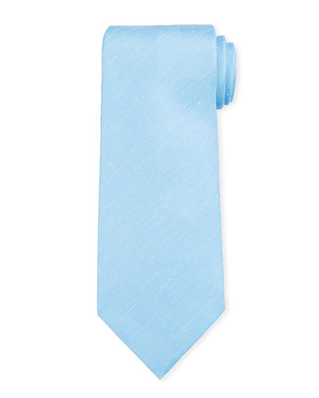 Ermenegildo Zegna Two-Tone Chevron Silk Tie, Light Blue