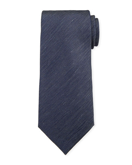 Ermenegildo Zegna Two-Tone Chevron Silk Tie, Navy/White