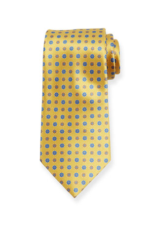 Ermenegildo Zegna Alternating Flowers Silk Tie, Yellow