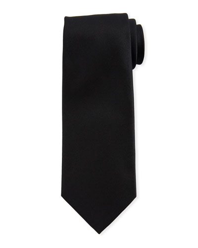 Solid Silk Satin Tie  Black