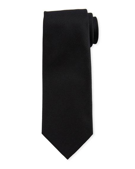 Ermenegildo Zegna Solid Silk Satin Tie, Black