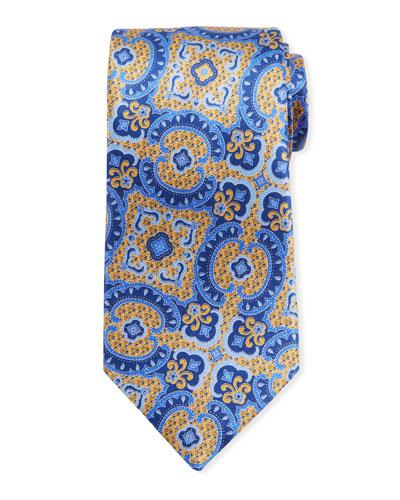 Medium Paisley Silk Tie  Yellow/Blue