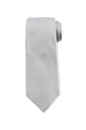 Ermenegildo Zegna Solid Silk Satin Tie, Silver