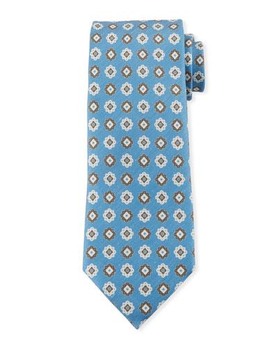 Medallions Silk Tie  Light Blue