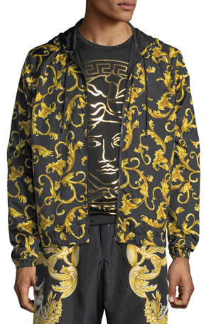 Versace Men's Baroque Scroll Zip-Front Hoodie