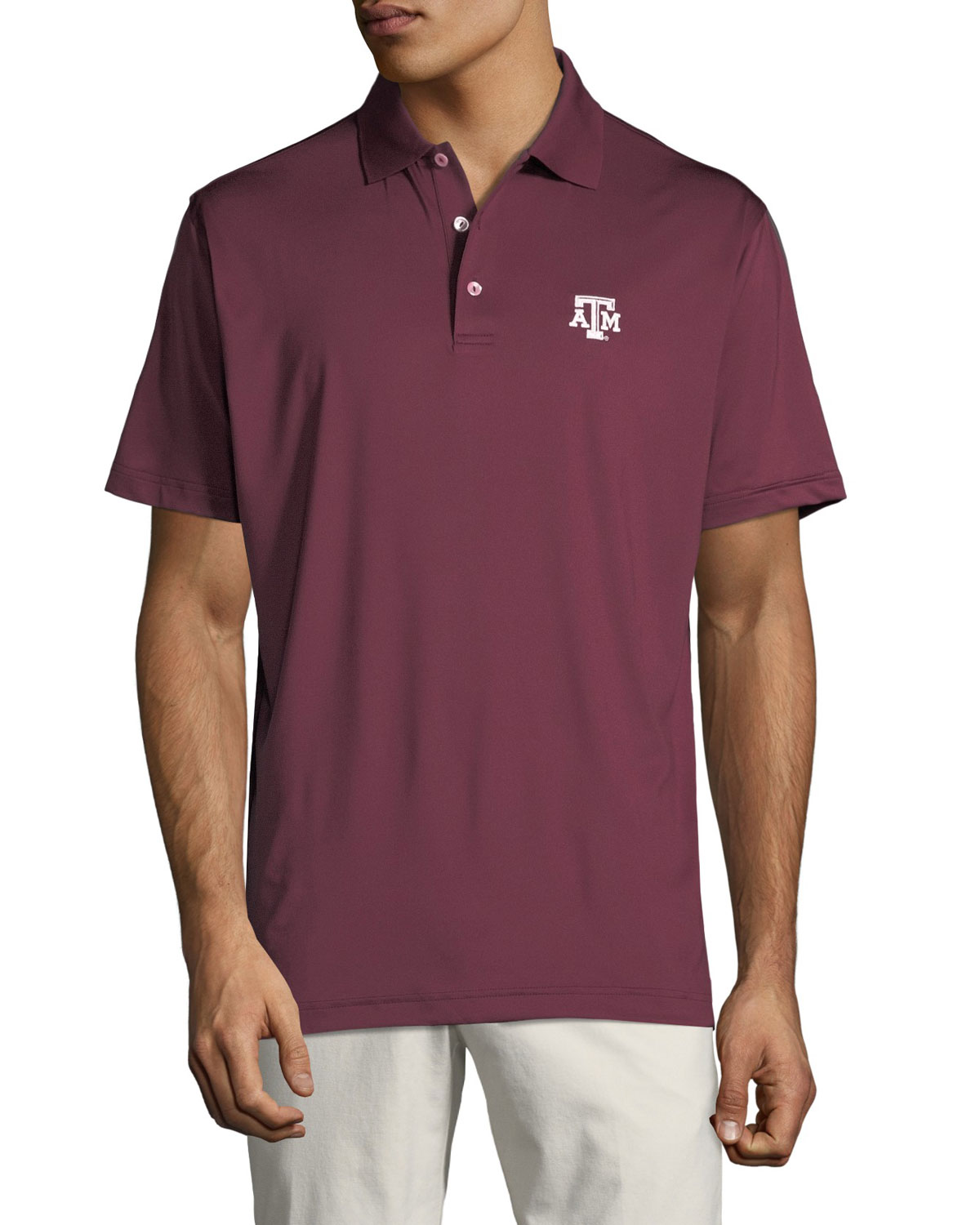Peter Millar Mens Texas Am Solid Stretch Jersey Polo Shirt Maroon