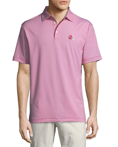 Men's University of Georgia Football Jubilee Stripe Polo Shirt, Red