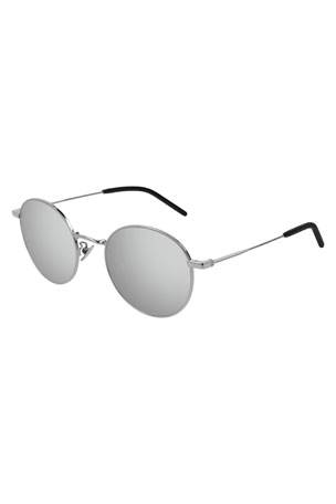 Saint Laurent Men's Round Metal Mirrored Sunglasses