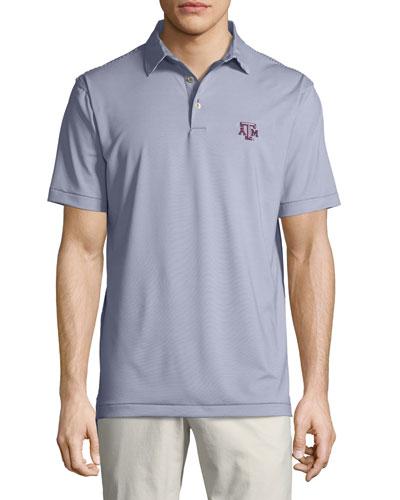 Men's Texas A&M Jubilee Striped Polo Shirt, Dark Gray