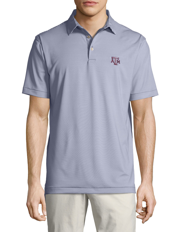 Peter Millar Mens Texas Am Jubilee Striped Polo Shirt Dark Gray