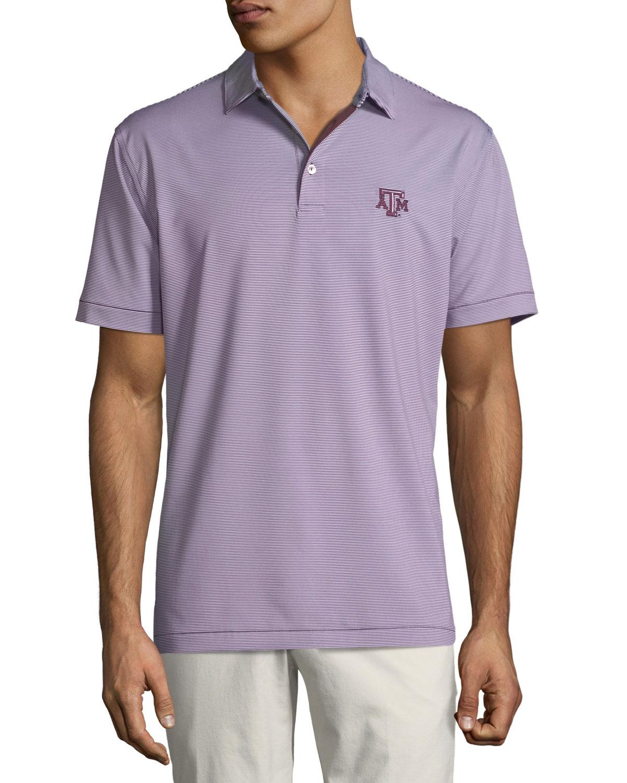 Peter Millar Mens Texas Am Jubilee Stripe Polo Shirt Maroon