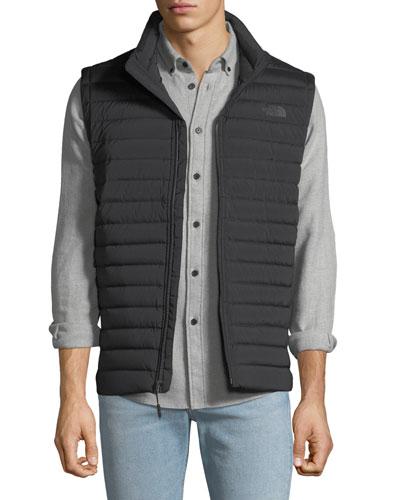 Men's Stretch Down Zip-Front Vest, Black