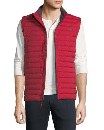 Men's Stretch Down Zip-Front Vest, Red