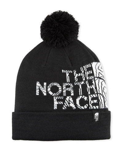 Men's Logo Ski Toque Beanie Hat with Pompom, Black