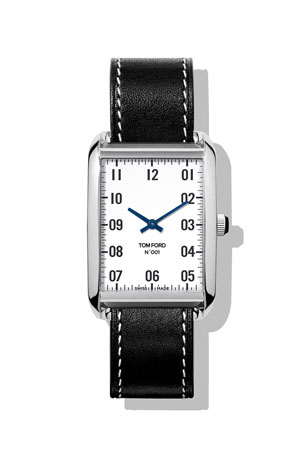 TOM FORD TIMEPIECES Men's 40x27 Calf-Leather Medium Watch, White/Black