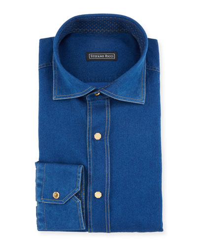 Men's Denim-Style Dress Shirt