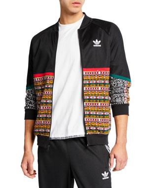 e56384308f978 Adidas Men s x Pharrell Williams SOLARHU Woven-Panel Zip-Front Track Jacket