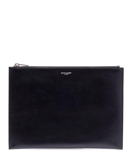 Saint Laurent Medium Leather Zip-Top Pouch/Tech Case