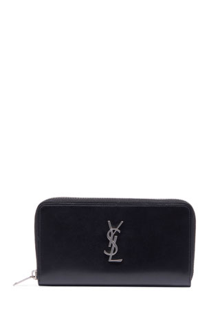 Saint Laurent Men's YSL Monogram Leather Zip Wallet