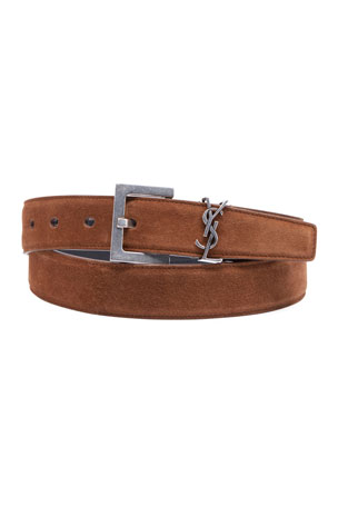 Saint Laurent Men's YSL Monogram Calf Suede Belt