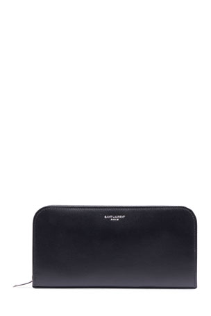 Saint Laurent Men's Leather Zip Wallet