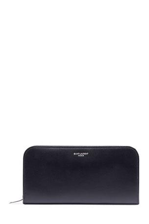 Saint Laurent Men's Leather Zip Wallet