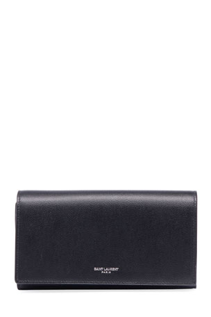 Saint Laurent Men's Leather Flap Wallet