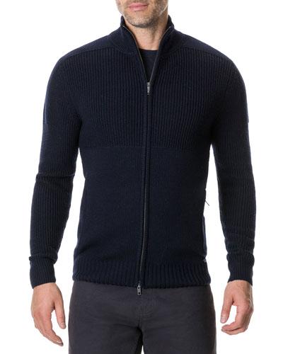 Men's Kina Beach Zip-Front Merino Wool Sweater