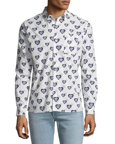 Men's Heart Pattern Shirt
